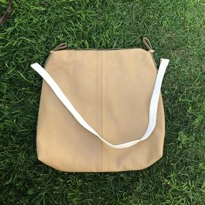 FRENCH CONNECTION White and Tan Large Purse